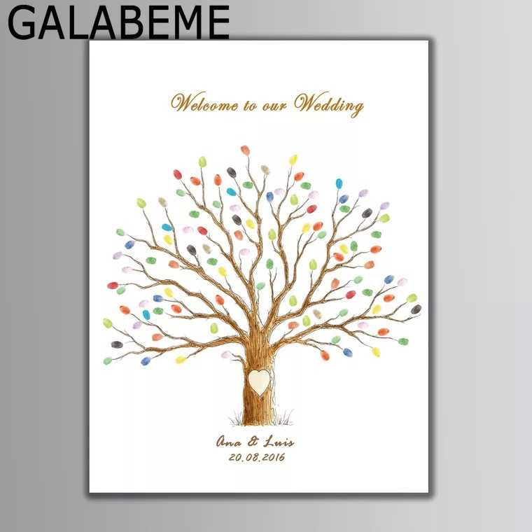 Personalized Name Date Canvas Wedding love Tree Fingerprint Guest Book Wedding Gift wedding decoration centerpieces