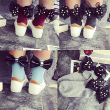 13color 2017 new cotton heel ribbon pearl big bow cotton socks Europe and the United States burst simple simple wild retro socks(China)