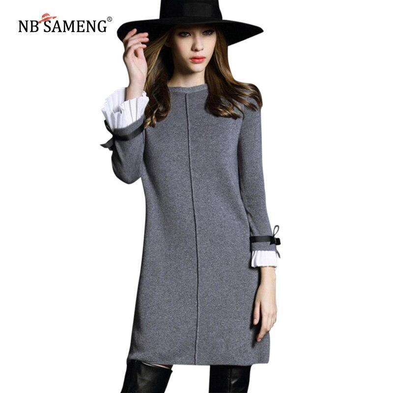 Spring Women Dress 2017 High Quality Butterfly Sleeve Knitted Sweater Black&amp;Gray Casual A-line DressÎäåæäà è àêñåññóàðû<br><br>