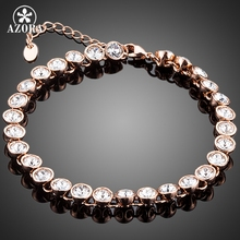 AZORA Elegant Rose Gold Color Tennis Bracelet With 29pcs Round Clear Stellux Austrian Crystal for Women TS0137