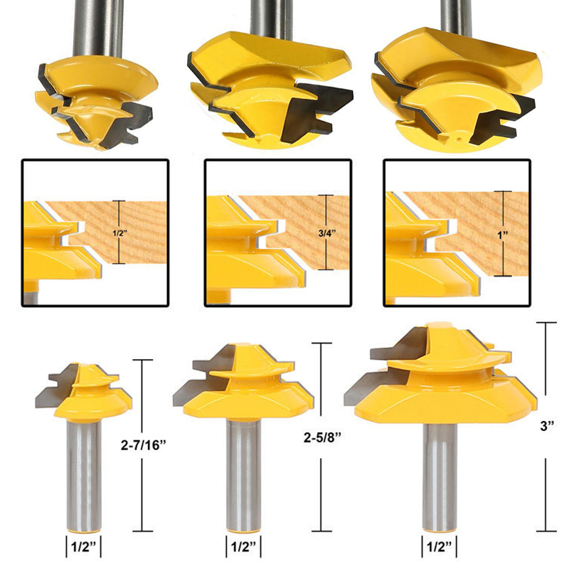 3pcs 45 Degree Lock Miter Router Bits 2 Flutes 1/2 Shank Glue Joint Woodworking Milling Cutter Solid Hardened Steel<br>