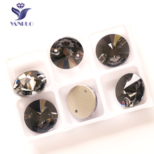 YANRUO 3200 Rivoli Black Diamond 8 10 12 14 16 18 mm Sew on Crystal Stones Glass Rhinestones Strass Sewing Cristal For Clothes