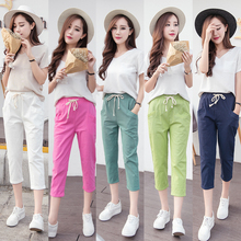 Elastic Women Pants Lady Slim Jeans Cotton Linen Girl Trousers Female Capris Red/White/Green S/M/L/XL/XXL/3XL/44/46/48/30/31/32