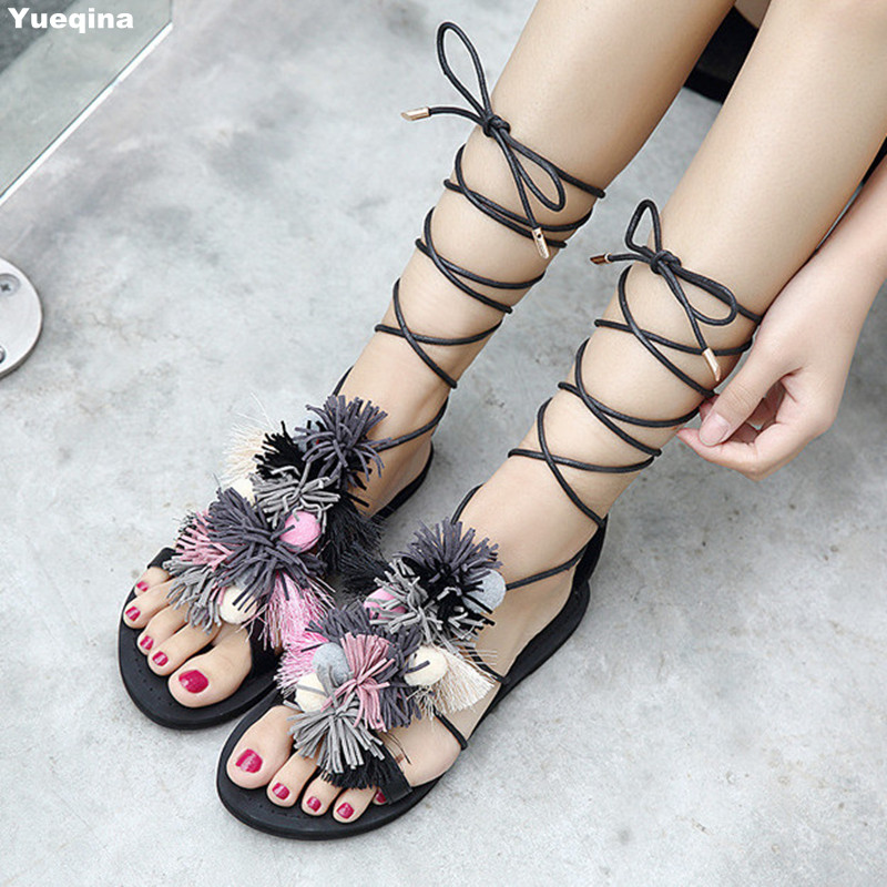 2017 Fringe Gladiators Sandal Women Shoes Casual Cross Tied Women Flat Summer Shoes Casual Sandals Women<br>