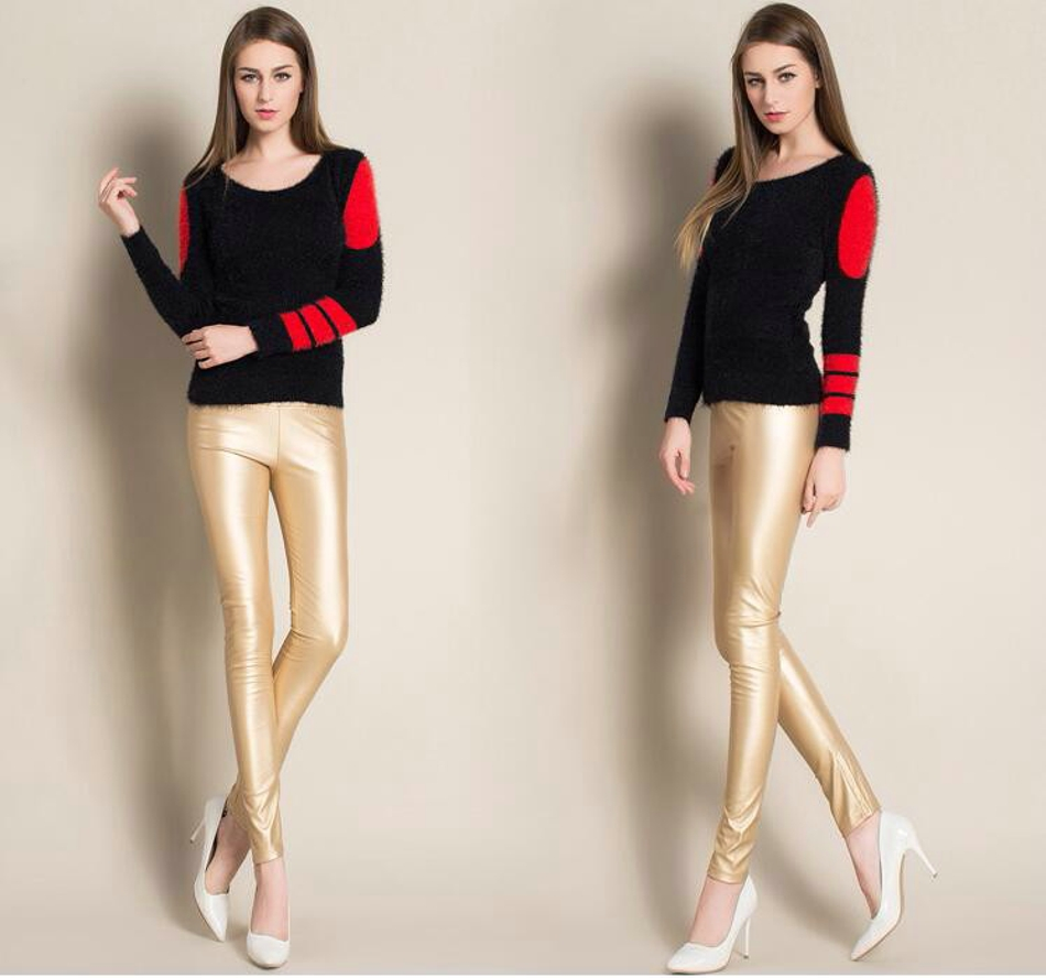 Leggings winter Women High Waist PU Leather Legging Slim Faux Pants Female Fashion Warm Leggings Women 070212