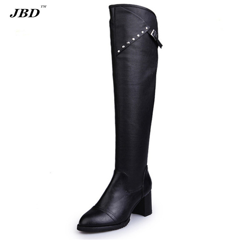 Luxury high-quality womens knee boots 2017 new brand designer fashion high-heeled shoes quality pu leather boots<br><br>Aliexpress