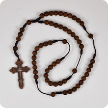 Dark Brown Rosary Beads Orthodox Cross Alloy Pendant Necklace Fashion Religious jewelry(China)