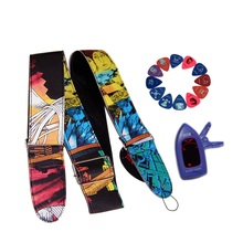 Guitar Accessories Kit including One Graffiti Guitar Strap, One Guitar Tuner and 12 pcs of Guitar Picks(China)