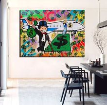 Free shipping pop artist Painting Richie Rich Graffiti money art Alec Monopoly Banksy arts poster hand painted no framedC01