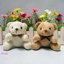 10cm Stuffed plush Toys tie teddy bear, soft toys for cartoon bouquets ,promotion gifts 20piece/lot