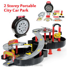 2 Storey Portable City Car Park Auto Parking Garage Cars Truck Play Set Toy,Spiral Roller Rail Alloy Parking Orbit Vehicles