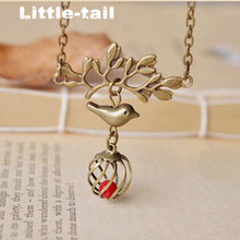 Original handmade retro tree branch bird cage short necklace vintage bronze coral beads pendant necklace for women