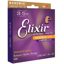 Elixir 16002 Acoustic Phosphor Bronze with NANOWEB Coating Extra Light 10-47