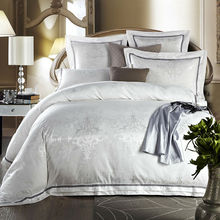 beautiful Boho style pattern bedding sets simple white silver linens 4pcs silk cotton jacquard Queen/King size sheets sets(China)