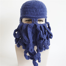 Personality Fashion Hand Knitting Hat Halloween Party Gift Octopus Funny Beard Mask Men Women Winter Hat Wool Hand Knitting H002(China)