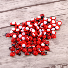 100pcs/Bag DIY Stickers Wood Ladybug Ladybird Sticker Adhesive Back Indoor Plant Fridge Wall Sticker Home Decoration Accessories(Hong Kong)