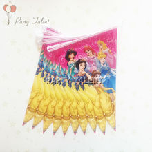 1 set girls birthday party Disney Princess theme party decoration 2.5m paper banner B including 10 flags