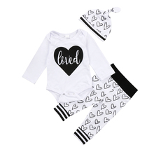 Toddler Infant Kid Baby Boy Girl Love Clothes Jumpsuit Bodysuit Heart Pants Hat Outfit Xmas Kids Baby Girls Boys Clothes(China)