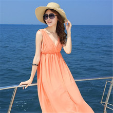 Women new luxury simplicity generous bohemian style romantic v-neck chiffon vacation beach long dress