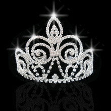 Prom Tiara with Bridal Headband Alloy Rhinestone Crown Wedding Princess Silver ee(China)