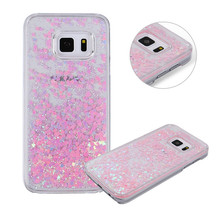 JeKacci Dynamic Liquid Glitter Sand Love Heart Bling Back Cover Case For Samsung Galaxy S7 S6 edge S8 Plus Hard PC Phone Cases(China)