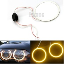 Free shipping 1pc COB 80/70/60mm LED Car Angel Eye Halo Ring Bulbs Decoration Light Rings yellow-D2TB