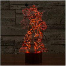 Transformers touch switch LED 3D lamp ,Visual Illusion 7color changing 5V USB for laptop, desk decoration toy lamp(China)