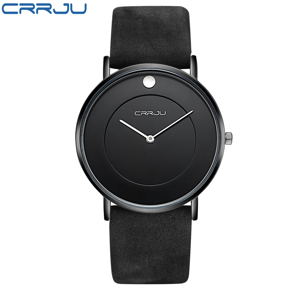 CRRJU Mens Watches Top Brand Luxury Quartz Watch Leather Strap Wrist watch 30M waterproof Casual Watch relogio masculino Clock<br><br>Aliexpress