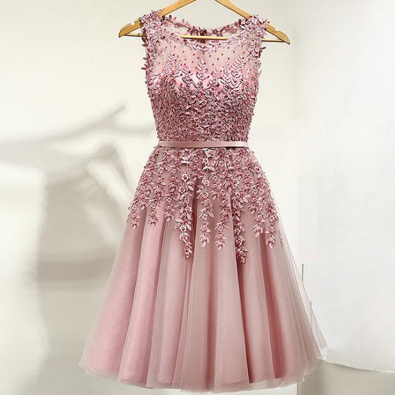 Evening dress 2018 Multi color Beads Pearls the banquet dress one-piece dress Boat neck plus size women short evening dresses(China)