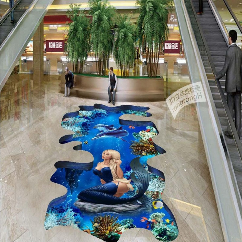 Free Shipping bathroom walkway floor wallpaper Underwater world dolphin 3D self-adhesive floor mural<br>
