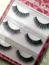 3pairs/lot 3D-1 3D false eyelashes 100% Handmade transparent stalk crossing 0.07mm fiber super soft clear band silk lashes(China)