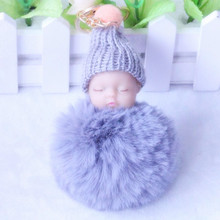 Buy ZOEBER Sleeping Baby Doll Keychain Pompom Rabbit Fur Ball Key Chain Car Keyring Women Key Holder Bag Pendant Charm Accessories for $1.17 in AliExpress store