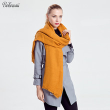 BOHOWAII Winter Scarf Adult Fashion Solid Color Pashimina Women Scarves Simple Soft Echarpe Hiver Femme(China)