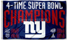 NY Giants 4 Time Super Bowl Champions 3x5 Flag(China)
