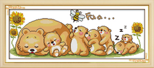 Joy Sunday Bear Family In Deep Sleep Cross Stitch Patterns with Charts Needlework Embroidery Cross Stitch Embroidery Home Decor(China)
