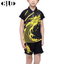 BLD Child Table Tennis Suit Sport T Shirt and Shorts Set Dragon Printed Breathable Tennis Badminton Tafeltennis Shirts for Boys(China)