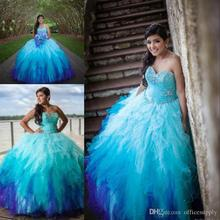 Sweetheart Rainbow Colored Quinceanera Dresses 2017 Crystal Beadings Tulle Ruffle Skirt Sweetheart  Ball Gowns