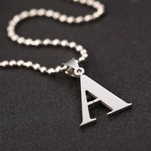 1PC Silver Letter Pendant with Ball Chain Necklace 26 Letters 316L Pendant Necklace Creative Women Necklace Ladies Style