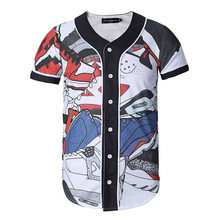 Fashion baseball shirt new arrival men 3D shirt men's clothing short sleeve casual shirts spring and summer cartoon printed