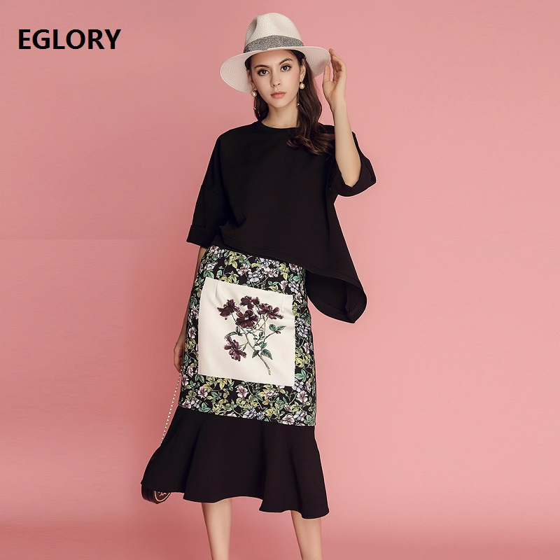 2018 Crop Sets for Women Sexy Loose Crop Tops+High Waist Vintage National Style Print Midi Skirt Suit Casual Two Piece Sets