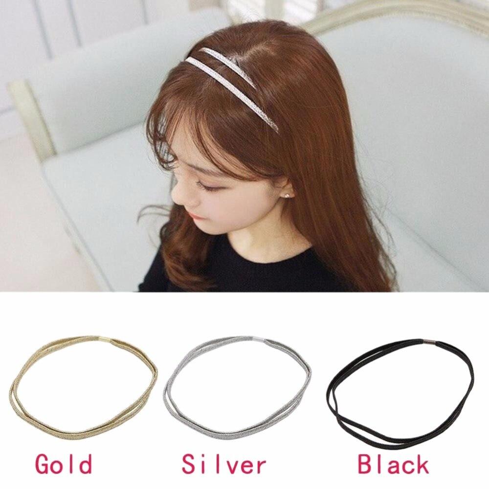 1PCS Girls Hair Hoop Fashion Glitter Elastic Double Headband Bling Hairband Wholesale 3Colors Hair Accessories Women Headband