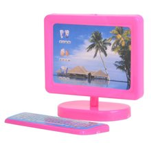 E-TING Dollhouse Miniature Pink Modern Piece Computer Furniture For Barbie Doll