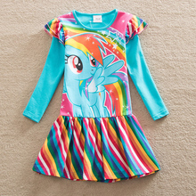 Retail Baby girl dress my little pony cotton child dress girl wear kids clothes Long sleeve dresses baby girls clothes LH6010