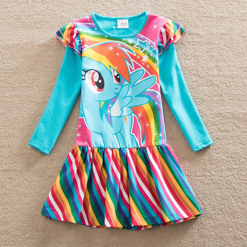 Retail Baby girl dress my little pony cotton child dress girl wear kids clothes Long sleeve dresses baby girls clothes LH6010<br><br>Aliexpress