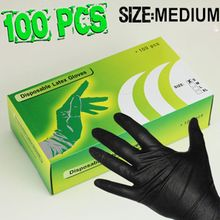 100PCS Medium Latex Tattoo Gloves Disposable Soft Black Medical Nitrile Sterile Tattoo Gloves Tattoo Accessories Free Shipping(China)