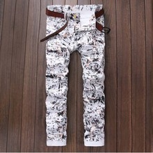 2017 fashion men  thin drawing  spring autumn white  pattern print korean Fashion stylist   straight slim casual male pants