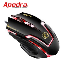 Apedra A9 Wired Gaming Mouse 3200DPI USB Optical Mouse 6 Buttons Computer Pc Mouse Gamer Professional Gaming Mice for Desktop(China)