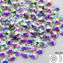 New Faceted Cut Facets (8 big + 8 small) hot back AAA Quality SS16 SS20 SS30 Crystal AB Iron On Hotfix Garment style Rhinestones