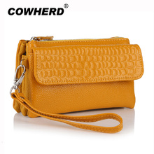 Wholesale 2017 Top Quality women genuine leather wristlet evening clutch female purse messenger bags handbag,YB-DM608(China)