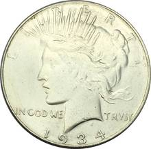 1934 D Peace One Dollar United States Of America Coins Brass Silver Plated Copy Craft Coin(China)